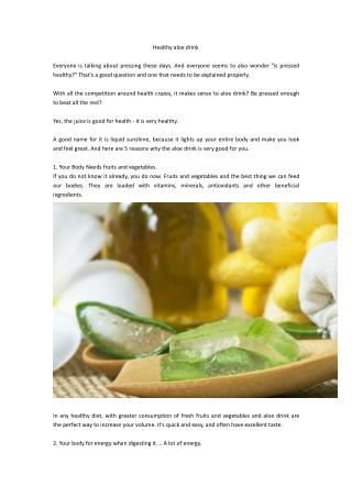 Healthy aloe drink