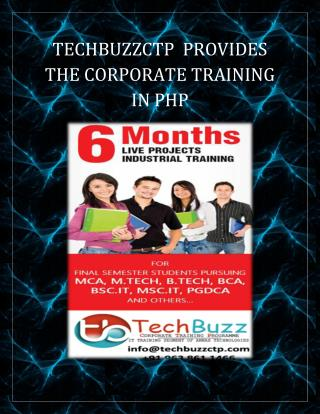 TECHBUZZCTP  PROVIDES  CORPORATE TRAINING IN PHP