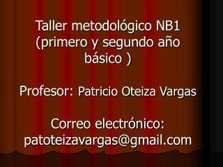 Taller metodol gico NB1 primero y segundo a o b sico   Profesor: Patricio Oteiza Vargas   Correo electr nico: patoteizav