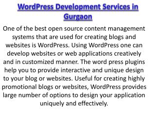 WordPress Development Services in Gurgaon