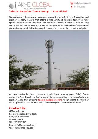 Telecom Monopoles Towers Design