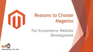 What Are The Reasons To Choose Magento Platform For Ecommerce Website