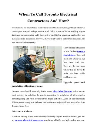 When To Call Toronto Electrical Contractors And How
