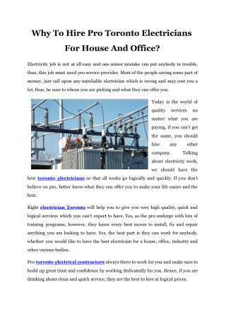 Why To Hire Pro Toronto Electricians For House And Office