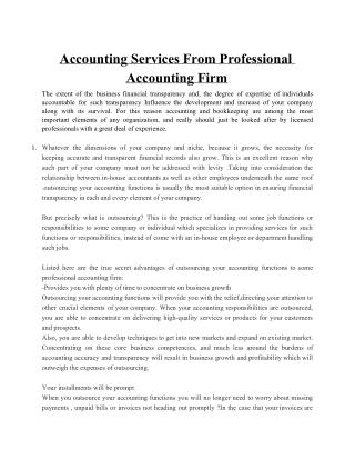 Accounting Services from Professional Accounting Firm