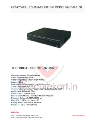Honeywell Black 8 Channel DVR HA-DVR-1108-S Manual