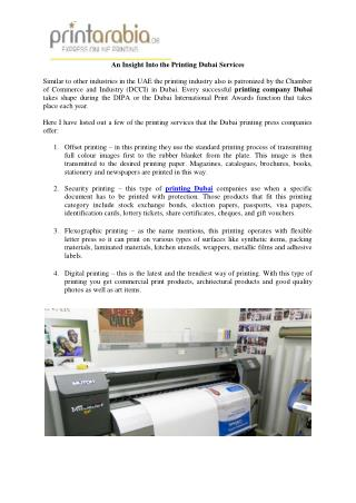 An Insight Into the Printing Dubai Services
