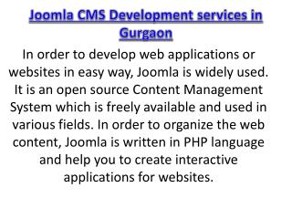 Joomla CMS Development services in Gurgaon