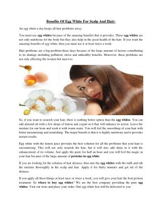 Benefits Of Egg White For Scalp And Hair:
