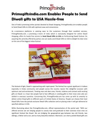 Primogiftsindia.com Enables People to Send Diwali gifts to USA Hassle-free