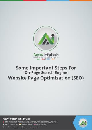 Website Optimization - Important Steps For On-Page SEO