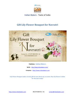 Lily Flower Bouquet , Buy Lily Flower Online – indianbakers.com