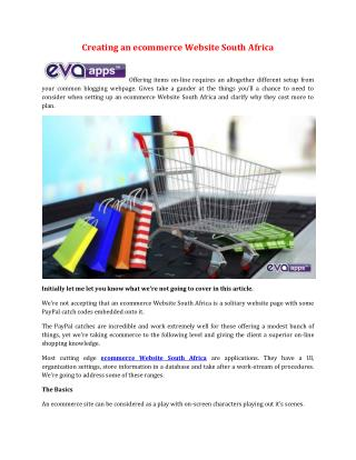 Creating an ecommerce Website South Africa