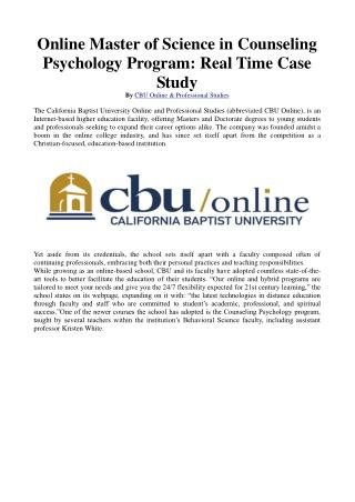 Online Master of Science in Counseling Psychology Program: Real Time Case Study