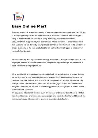 Online Super Market Store - EasyOnlineMart