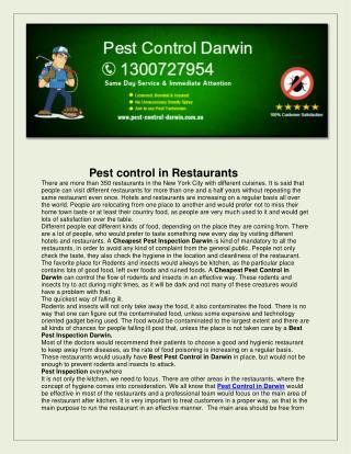 Pest Control Darwin
