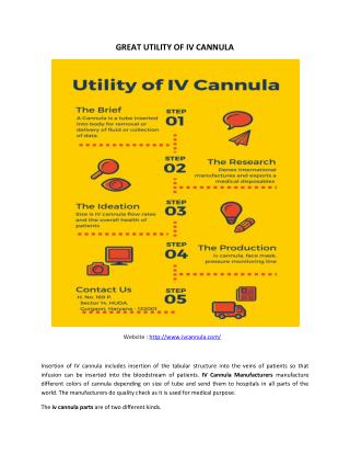 GREAT UTILITY OF IV CANNULA