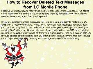 How to Recover Deleted Text Messages from LG Mobile Phone
