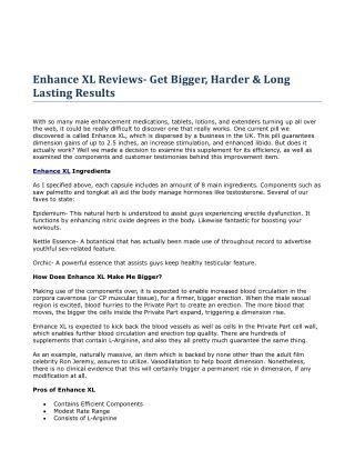 Enhance XL Reviews- Get Bigger, Harder & Long Lasting Results