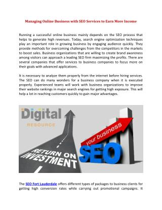Managing Online Business with SEO Services to Earn More Income