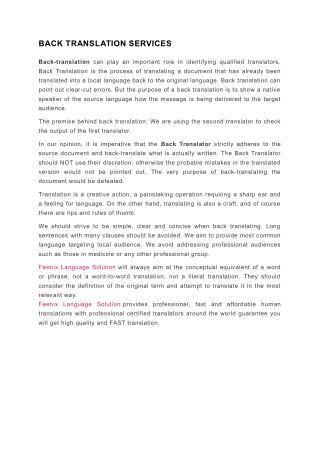 Back Translation Services - FeenixLanguage