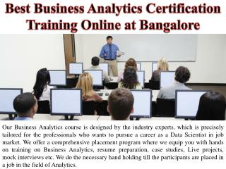 Best Business Analytics Certification Training Online at Bangalore