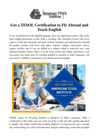 Get a TESOL Certification to Fly Abroad and Teach English