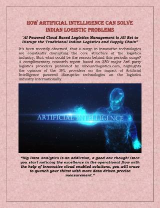 How Artificial Intelligence can solve Indian Logistic problems