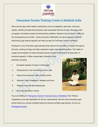 Pranayama Teacher Training Course in Rishikesh India
