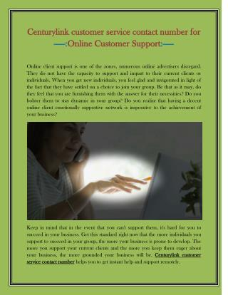 CenturyLink customer service contact number