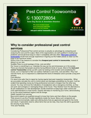 Pest control toowoomba