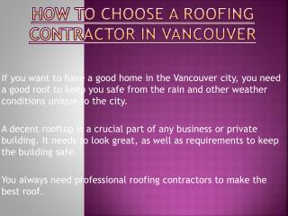 Remember These Points While Choosing a Roofing Contractor in Vancouver