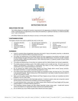 Cellfina Instructions For Use (IFU)