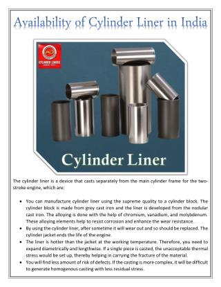 Availability of Cylinder Liner in India