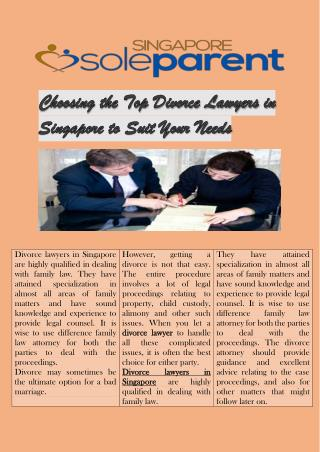 Choosing the Top Divorce Lawyers in Singapore to Suit Your Needs