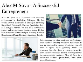 Alex M Sova - A Successful Entrepreneur
