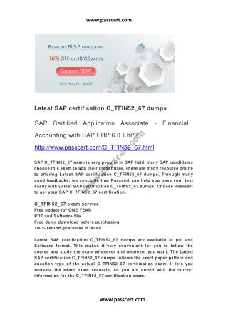 SAP certification C_TFIN52_67 dumps
