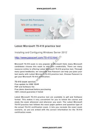 Latest Microsoft 70-410 practice test