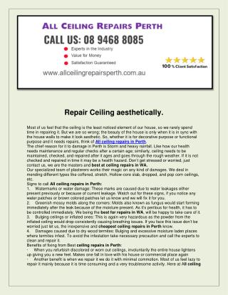 All Ceiling repairs perth
