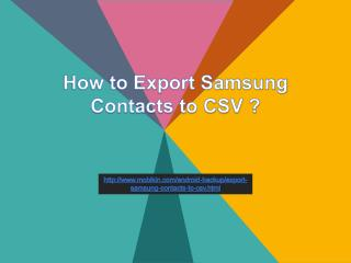 How to Export Samsung Contacts to CSV ?