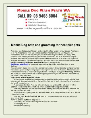 Mobile Dog Wash Perth WA