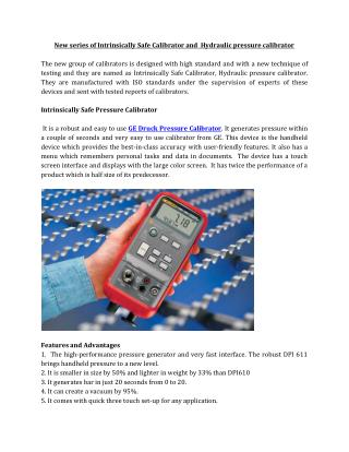 New series of Intrinsically Safe Calibrator and  Hydraulic pressure calibrator