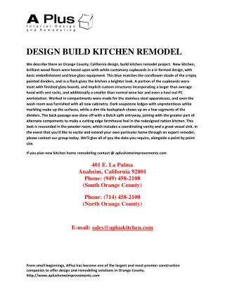 Design build kitchen remodel project