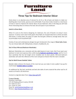 Three Tips for Bedroom Interior Décor