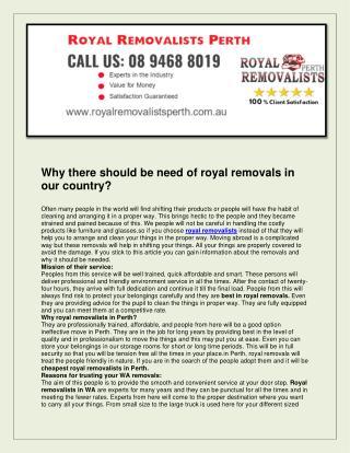 Royal removalists perth
