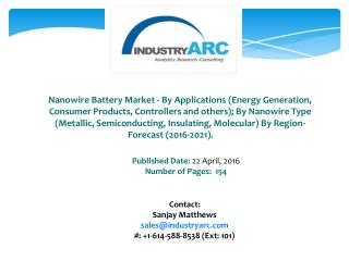 Nanowire Battery Market: increasing demand for silicon nanowire battery for better performance and energy through 2021.
