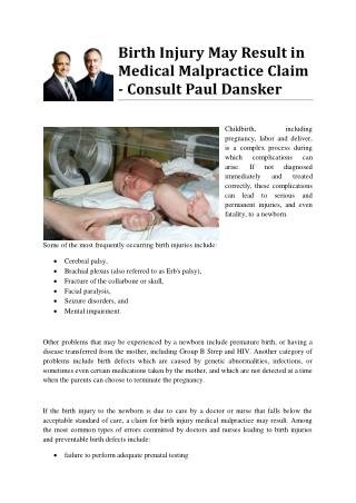 Birth Injury May Result in Medical Malpractice Claim - Consult Paul Dansker