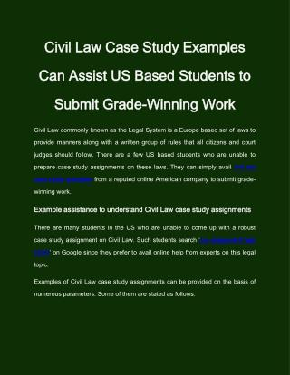Need Civil Law Case Study Help from Professionals