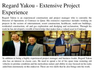 Regard Yakou - Extensive Project Experience