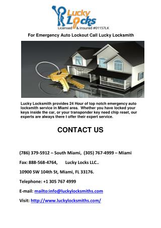 For Emergency Auto Lockout Call Lucky Locksmith